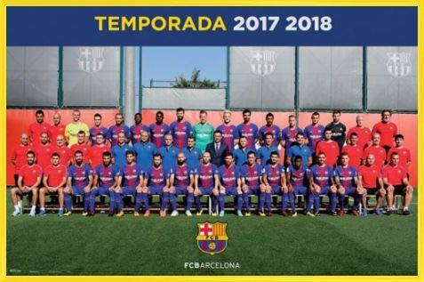 1art1 Fútbol Póster con Marco (Plástico) - FC Barcelona 2017/2018, Plantilla, Piqué, Messi, Suárez (91 x 61cm)