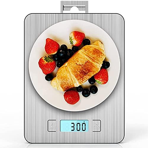 IAB Báscula de Cocina Digital con Gancho, 15kg/33lb-1g Balanza Cocina Precisión de Alimentos Multifunción de Acero Inoxidable con opción de g y oz/Tara/Timer/LCD, Escala Peso Comida para Cocina
