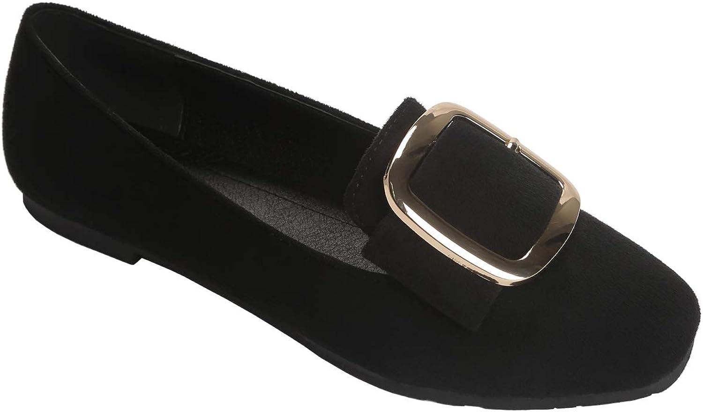 Modenpeak Women's Faux Suede Ballet Flat Light Comfort Round Toe Low Heel Loafers shoes