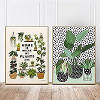 植物の壁のアートポスター屋内かわいい植物のキャンバスの絵画プリントミニマリズム壁のリビングルームのモダンな写真30X40cmX2フレームレス