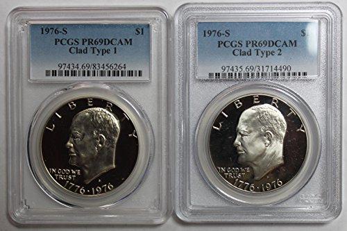 1976 S Eisenhower Ike Dollar $1 PR69DCAM PCGS Clad Type 1 & 2