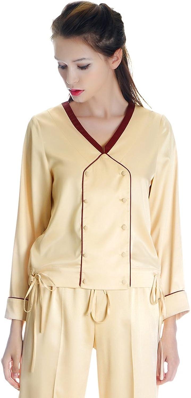 50s' Vintage Preppy Silk Shirt Women Pajamas Shirt Sleepwear