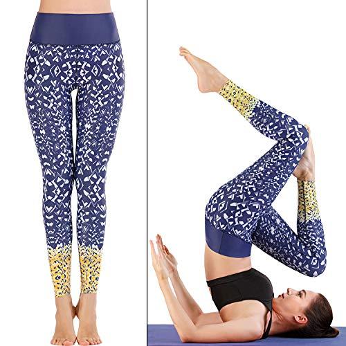 FTF Los Pantalones de Yoga de Running Pantalones Cortos de 8 Puntos Fitness Deportivo Calzoncillos Impreso Leggings,B,L
