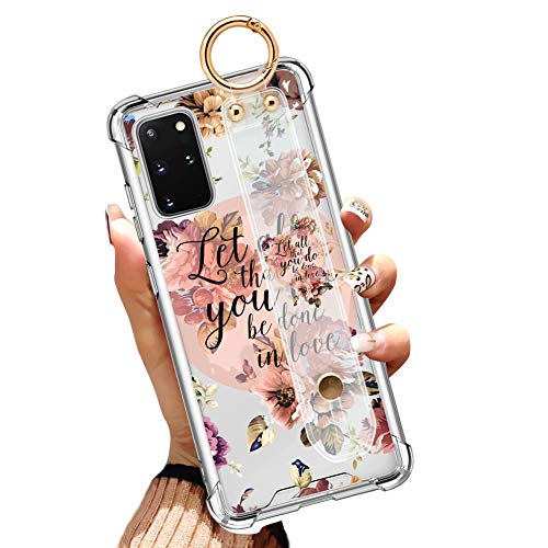 Illians Samsung Galaxy S20 Plus 6.7 Inch 2020 Clear Anti-Yellow Slim Phone Case Gasbag Full Protective Cover Christian Quotes Bible Verse Flower Floral Shell with Wrist Strap Wrist Band for S20+