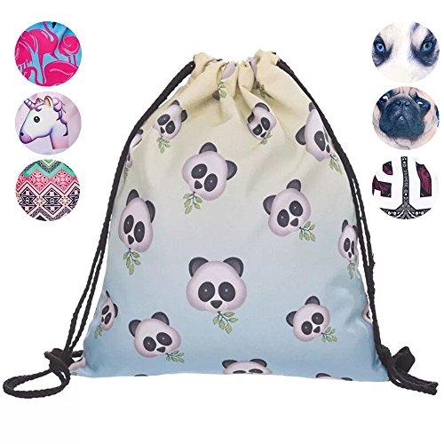 Creativee - Sac à dos imprimé avec cordon de serrage - Pour enfant (unisexe) - En nylon - Sac pliable pour l'école, la maison, le sport - Sac de rangement ou de voyage, Emoji panda