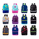 """24 Pack - 17"""" Bulk Backpacks with Front Zipper in 12 Assorted Styles Colors - Wholesale Bookbags"""