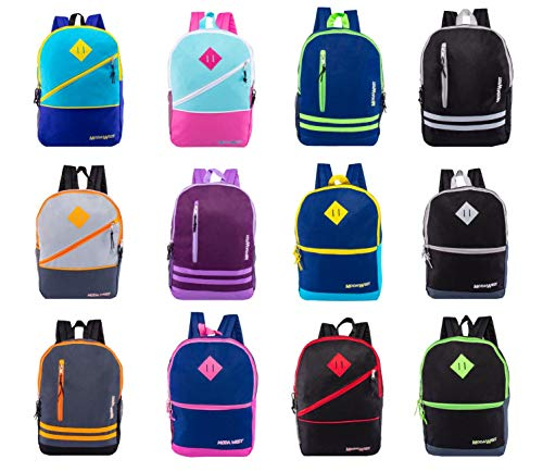 24 Pack - 17' Bulk Backpacks with Front Zipper in 12 Assorted Styles Colors - Wholesale Bookbags