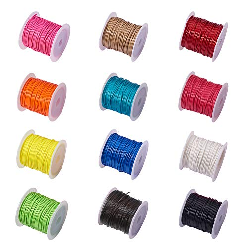 PandaHall Elite 12 Rolls 1mm Waxed Polyester Cord Thread Beading String 10.9 Yards per Roll Spool 12 Colors for Jewelry Making and Macrame Supplies