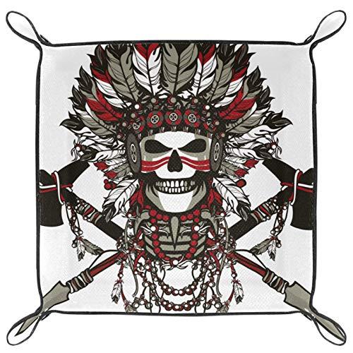 rogueDIV Würfeltablett, faltbares Tablett aus PU-Leder für RPG-Würfel, Gaming und andere Brettspiele, indisches Tribal-Totenkopf-Design