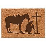Daylor 30' x 18' Coir Doormat Entry Door Mat Cowboy Praying Cross Horse