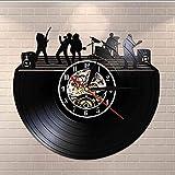 TIANZly Relojes de Pared de Vinilo Banda en el Escenario Blanco y Negro Disco de Vinilo Moderno LP Reloj de Pared silencioso de Pared Reloj Banda de música Música en Vivo Estudio Firmar sin luz