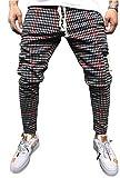 Men's Classic Plaid Pants Stretch Slim Fit Lattice Trousers Casual Running Jogger Drawstring Sweatpants (Large, Plaid-red)