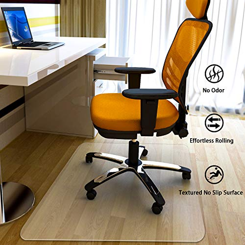 MATDOM Chair Mat for Wood Floor at Home and Office Heavy Duty Transparent Solid Multiple Size Eco-Friendly, 1/16