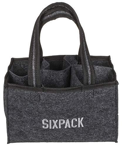 mucplants Sixpack Männerhandtasche Bier Herrenhandtasche aus Filz mit 6 Fächern für Bierflaschen, grau