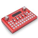 YPJKHM Tarjeta de Sonido en Vivo portátil -F007 teléfono móvil Tarjeta de Sonido en Vivo Set K canción con Tarjeta de Sonido Bluetooth-Red