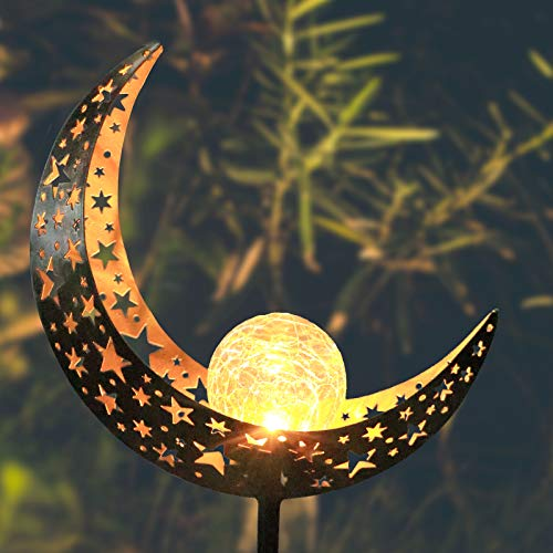 Moon Solar Lights Outdoor Metal Crackle Glass Globe Stake Garden Decor for Pathway, Lawn,Yard Decorations, 1 Pack