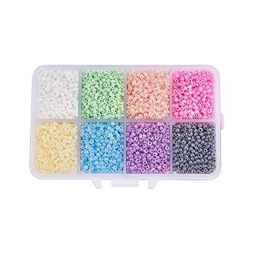 PandaHall 1 Caja Mixta 12/0 Cuentas de Semillas de Vidrio Redondas Cuentas de Semillas de Colores Mezclados Estilo Mixto Encantos de Hallazgo Agujero 1 mm
