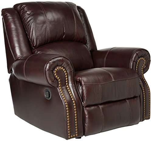 Ashley Furniture Signature Design - Walworth Rocker Recliner - Pull Tab Manual Reclining - Traditional - Black cherry