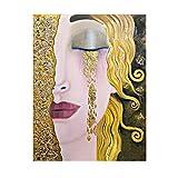 WENYOG Cuadro En Lienzo Art Gustav Klimt Golden Lágrimas y Beso Pintura al óleo sobre Lienzo Pósteres y Impresiones Arte de la Pared Imágenes para Sala de Estar