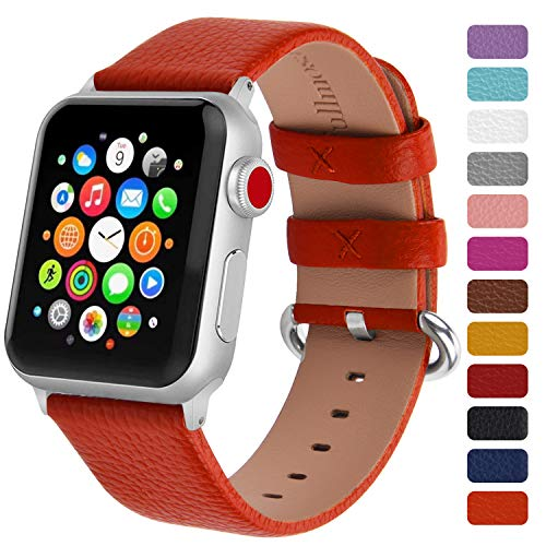 Fullmosa Klassische Litichi Leder Watch Armband Kompatibel für Apple Watch Series 5/4/3/2/1, 12 Farben iWatch Armband geeignet für Männer und Frauen mit Edelstahlschliesse 42mm,Orange