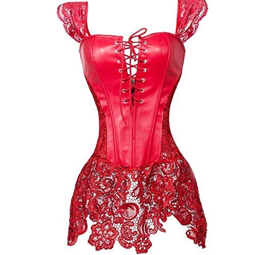 Corset Cuero Mujer Overbust corsés Bustiers Vestir Encaje Sexy Talla Grande Vintage Halloween Medieval Rojo S (Ropa)