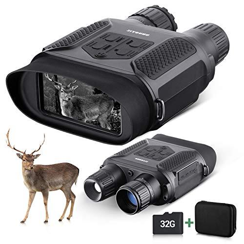 BNISE Digitales Nachtsicht-Fernglas für Erwachsene – 400 m Jagdkamera, Nachtsicht, Googgles mit 32 G TF-Karte, 10,2 cm (4 Zoll) LCD-Bildschirm für Wildtiere