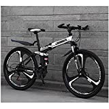 Bicicleta de montaña, doble amortiguador de velocidad variable, bicicleta de montaña plegable redonda integrada (tres cuchillos) negro y blanco_24 velocidades (por defecto 26 pulgadas)