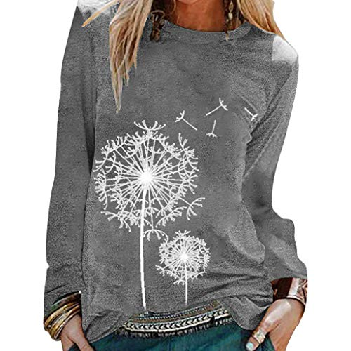 Tops for Women Casual Summer Womens Casual Loose Print Long Sleeve Pullover Sweatshirts