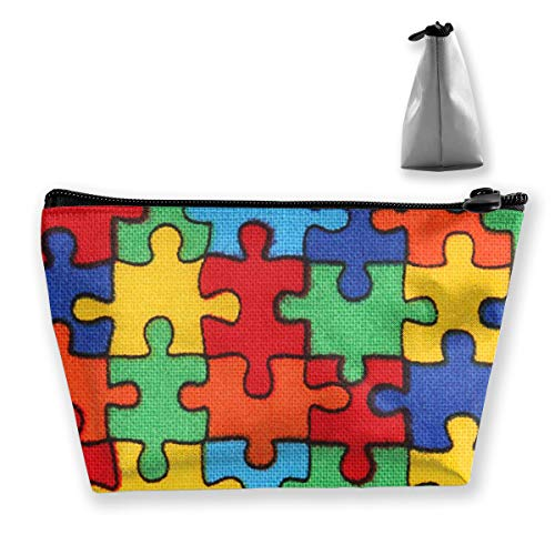 Sac de maquillage Kawaii en tissu avec pièces de puzzle colorées pour femme – Rangez en toute sécurité le maquillage, les produits de toilette, les cosmétiques et les voyages