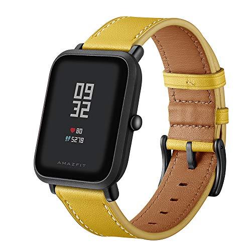 XZZTX 20mm lederen riem vervanging Polsband Compatibel met Amazfit Bip GTS/Galaxy Horloge Active/Galaxy Horloge 42mm/Gear S2 Classic/Garmin Vivoactive 3 Smartwatch