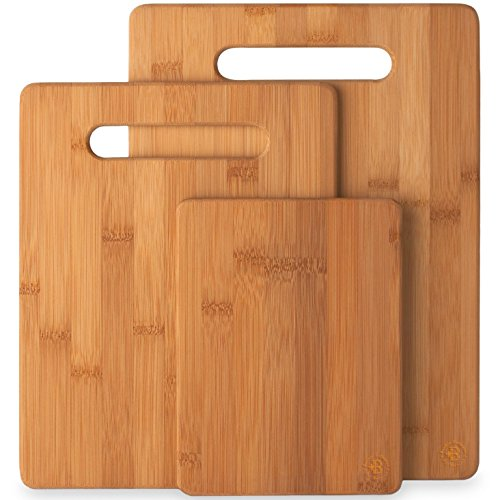 3-Piece Bamboo Cutting Board Set - Wooden Kitchen Boards for Food Prep and Chopping Fruits Vegetables
