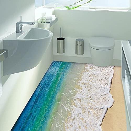 Pegatinas para el suelo Etiqueta engomada de la playa 3D Calcomanías murales extraíbles Arte de vinilo Baño Sala de estar Aplique de pared de piso Papel tapiz de guardería