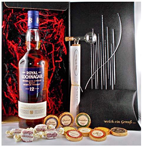 Geschenk Royal Lochnagar 12 Jahre Single Malt Whisky + Glaskugelportionierer + Edelschokolade + Fudge