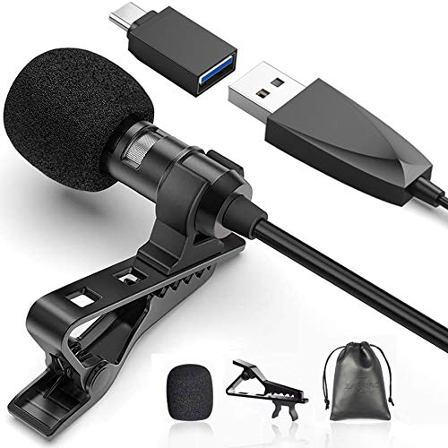 USB Lavalier Lapel Microphone for Video Recording Podcasting Streaming, USB C Clip-on Computer Microphones, Plug & Play Omnidirectional Condenser Lav Mic for Android Phone PC Laptop Mac MacBook PS4