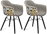 Furnhouse Furniture Sillas de Comedor, Haya, Grey,Red/Black Legs, 59x57x80, 2 Unidades