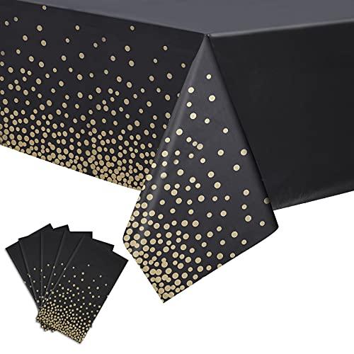 5 Packungen Rechteckige Kunststoff Tischdecken Einweg wasserdichte Tischdecken Party Tischdecke für Geburtstag Erntedankfest Weihnachten Tisch Deko, 54 x 108 Zoll (Schwarz und Gold)