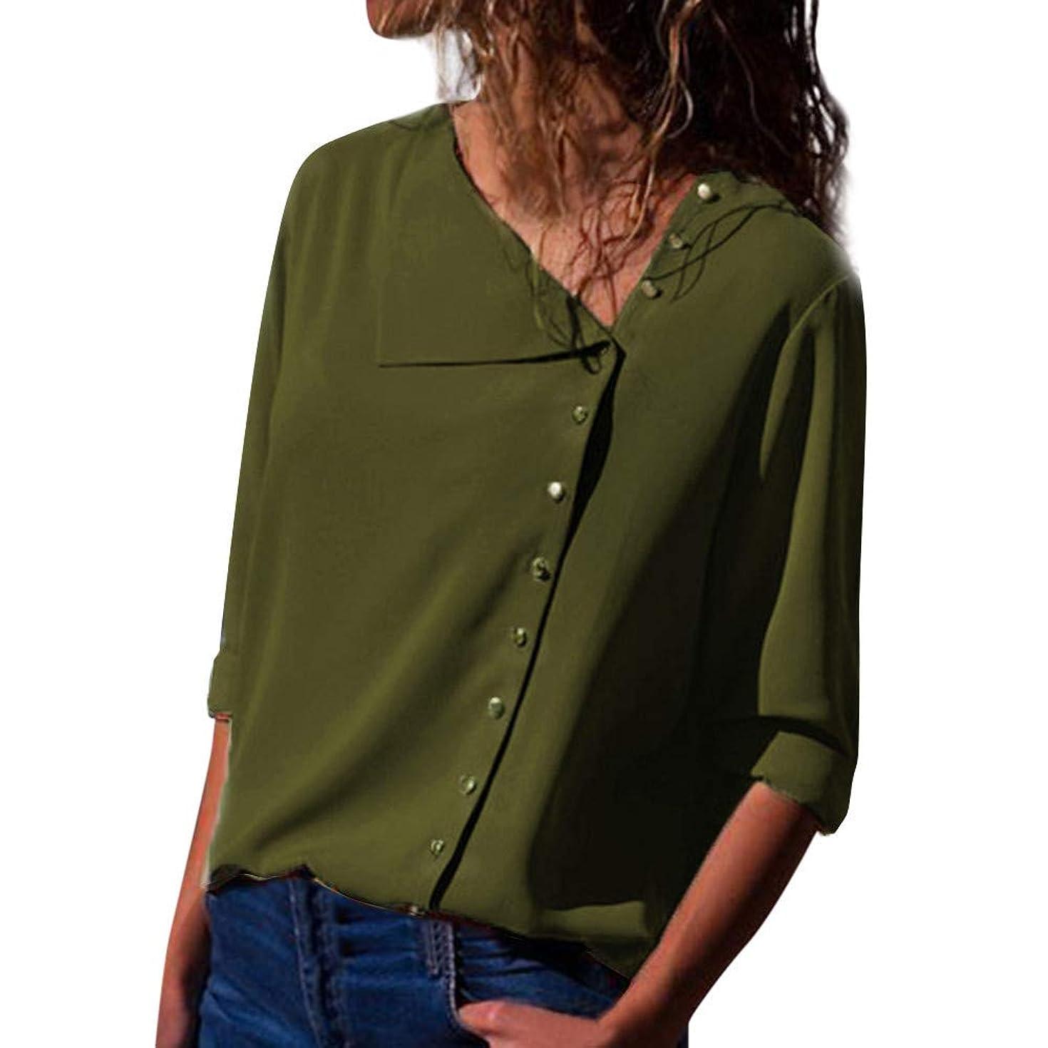 DEATU Womens Fashion Lapel Neck T-Shirt Ladies Casual Long Sleeve Buckle Blouse Tops