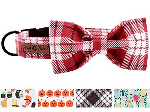 lionet paws Weich Baumwolle Fliege Hundehalsband mit Metall Verschluss Einstellbare Halsbänder für Große Hunde, Hals 40-60cm