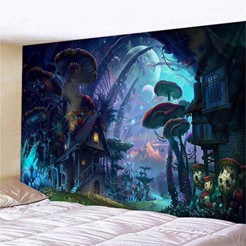 FGHSD Sprookjesachtige droomde wandtapijten wandtapijt Psychedelisch tapijt enorme paddestoel slot heks hippie kinderkamer decoratie wandtapijten 230cmx180cm