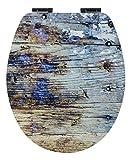 Calmwaters® WC Sitz Holz mit Absenkautomatik Motiv Shabby-Wood, Fast-Fix-Befestigung aus Metall, universale O-Form, stabiler Holzkern Toilettendeckel, Komfort Toilettensitz - 26LP5405