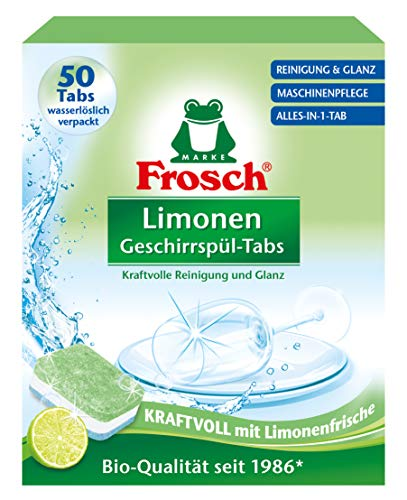 Frosch Limonen Geschirrspül-Tabs, umweltfreundlich, mit wasserlöslicher Folie, für die tägliche Reinigung von Besteck und Geschirr, 50 Tabs, 1er Pack (1 x 50 Tabs)