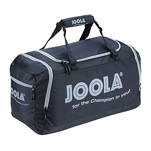 JOOLA Sporttasche COMPACT Reisetasche Geräumige Tischtennis-Tasche mit Hauptfach und Nebenfach, Schwarz/Grau, 68 x 38 x 30 cm