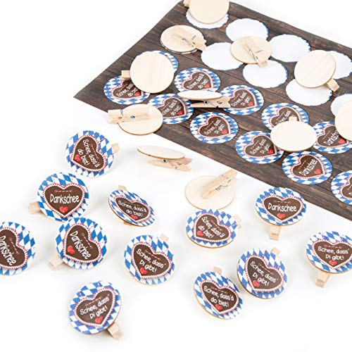 Logbuch-Verlag 24 Aufkleber bayerische Sprüche + 24 Holzklammern mit r&er Scheibe Bayern Oktoberfest Deko Set blau weiß rot Partydeko Wiesn Geschenk