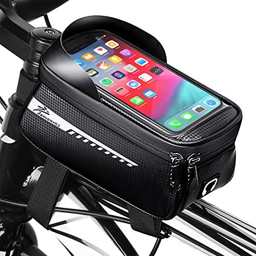 Jasonwell Bolsa para Bicicleta Impermeable - Accesorios para Bicicleta Bolsa para Manubrio con Pantalla Táctil Ranura para Audífonos...