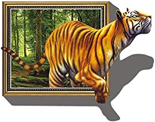 OTTATAT Wall Stickers Flowers 2019,Giant 3D Tiger Jumping Out of Jungle Peel & Stick Wall Decals Easy to Stick Valentine's Day Home Gift for Lover Free Deliver