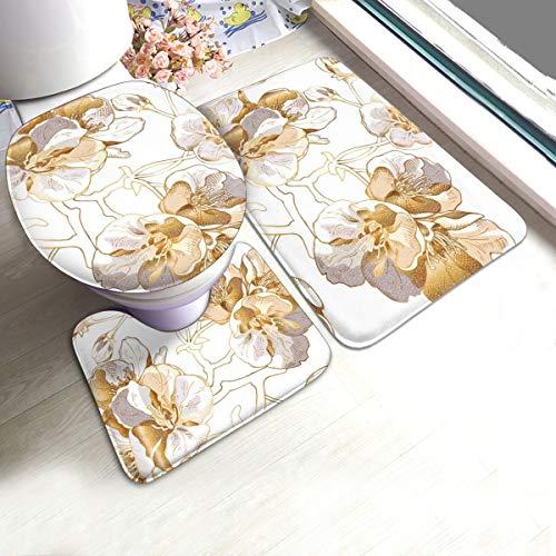 N/R Licht Goud Kers Bloemen U-Shaped Toilet 3 Stuk Badmat Set Badkamer Tapijten Tapijt Matten Antislip Voor Indoor Contour Tapijt Aangepast