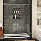 SUNNY SHOWER Semi-Frameless Shower Door Glass Sliding Design Bathroom Shower Enclosure 1/4' Clear Glass, Brushed Nickel Finish, 60' x 72' Glass Shower Door