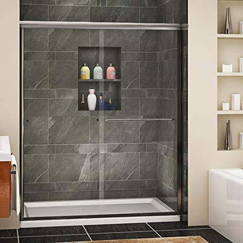 "SUNNY SHOWER Framless Shower Door Glass Sliding Design Bathroom Shower Enclosure 1/4"" Clear Glass"