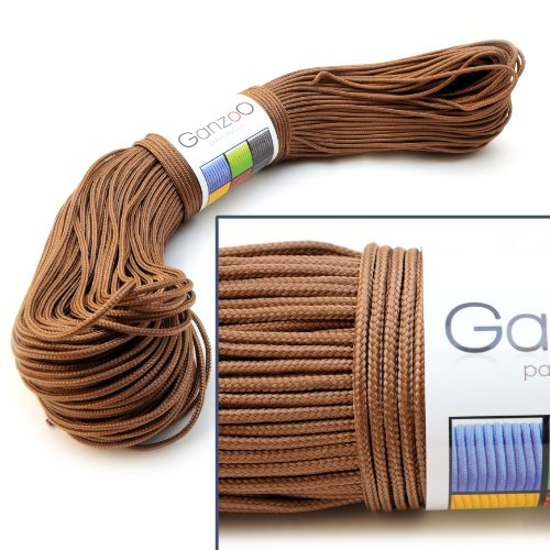 Ganzoo Paracord Universal Survival Rope Made of Tear-Resistant Parachute Cord Nylon, 3 Core Threads, Total Length 100 Metres, Thickness: 2 mm, Colour: Brown by Ganzoo