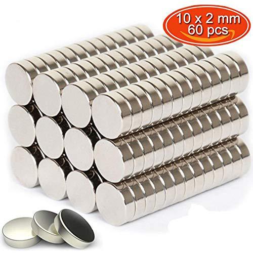Neodimio Imán 60 pieza 10x2 mm Unidad imán Extrem Fuerte 2,2 kg de fuerza